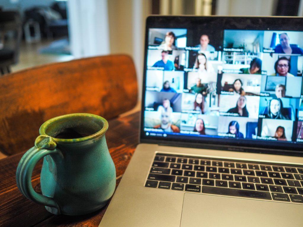 Virtual meeting on laptop