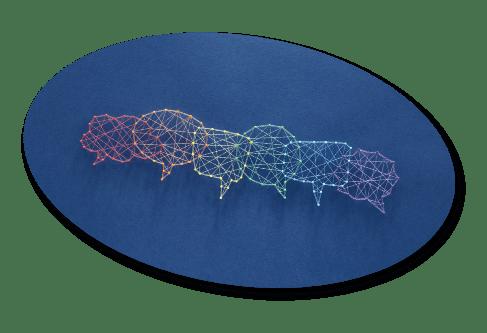 speech bubble designed with multicolored string